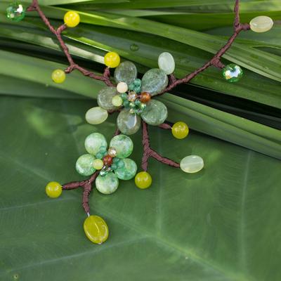Carnelian and quartz flower necklace, 'Verdant Bouquet' - Carnelian and quartz flower necklace