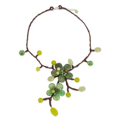 Carnelian and quartz flower necklace