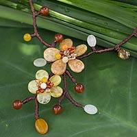 Carnelian flower necklace, 'Yellow Orange Spray' - Carnelian flower necklace