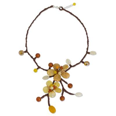 Carnelian flower necklace