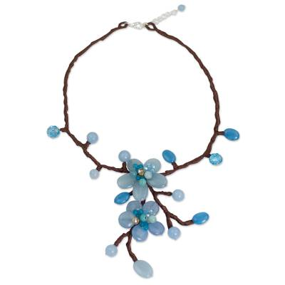 Beaded flower necklace, 'Turquoise Spray' - Beaded flower necklace