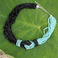 Beaded necklace, 'Dusky Mint' - Aqua and Black Beaded Necklace