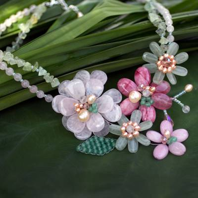 Cultured pearl and rose quartz beaded necklace, 'Eden' - Cultured pearl and rose quartz beaded necklace
