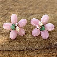 Cultured pearl and quartz flower earrings, 'Pink Thai Daisy'