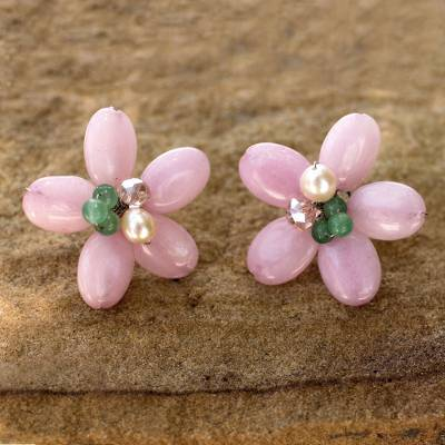 Cultured pearl and quartz flower earrings, 'Pink Thai Daisy' - Pink and Green Flower Earrings with Pearl
