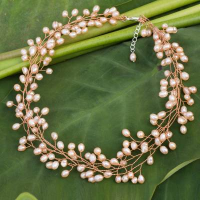 Cultured pearl beaded necklace, 'Sweet Peach' - Cultured pearl beaded necklace
