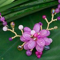 Amethyst beaded flower necklace, 'Violet in Bloom' - Amethyst Beaded Orchid Necklace from Thailand
