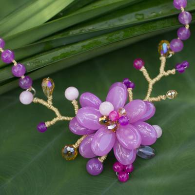 Amethyst beaded flower necklace, 'Violet in Bloom' - Amethyst beaded flower necklace
