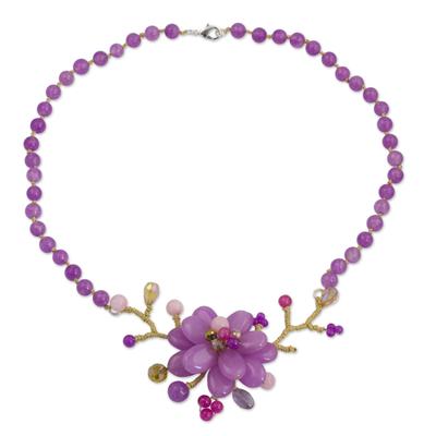 Amethyst beaded flower necklace, 'Violet in Bloom' - Amethyst beaded flower necklace