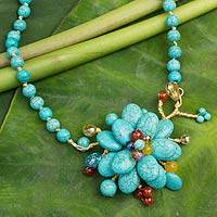 Carnelian beaded flower necklace, 'Amsonia in Bloom'