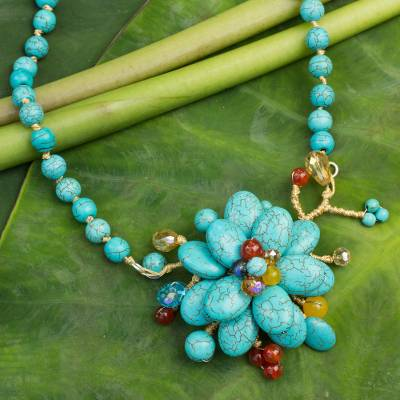 Carnelian beaded flower necklace, 'Amsonia in Bloom' - Handcrafted Floral Quartz and Carnelian Necklace