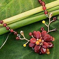 Carnelian beaded flower necklace, 'Gladiolus in Bloom' - Carnelian beaded flower necklace