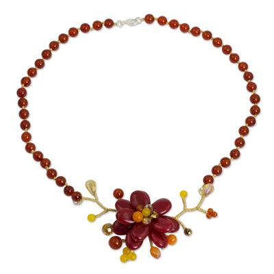 Carnelian beaded flower necklace
