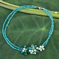 Cultured pearl and quartz flower necklace, 'Green Floral Princess' - Cultured Pearl and Quartz Beaded Necklace from Thailand