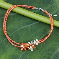 Cultured pearl and quartz flower necklace, 'Orange Floral Princess' - Cultured pearl and quartz flower necklace