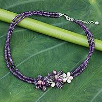 Cultured pearl and amethyst flower necklace, 'Lilac Floral Princess' - Multigemstone Floral Necklace from Thailand