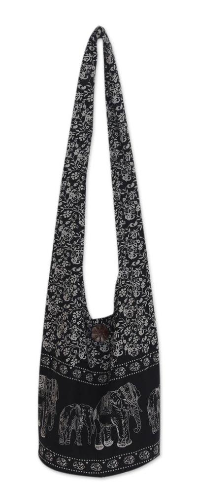 Cotton shoulder bag, 'Black and White Siam' - Handmade Cotton Elephant Shoulder Bag