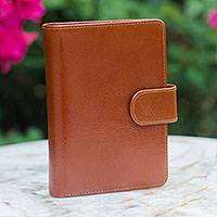 Leather passport holder, 'Honey Brown Voyages' - Leather passport holder