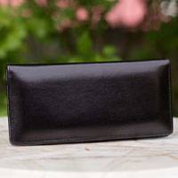 Leather wallet, 'Versatile Black' - Leather wallet
