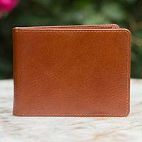 Men's leather wallet, 'Executive Brown' - Men's leather wallet