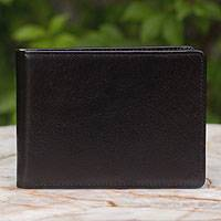 Men's leather wallet, 'Executive Black' - Men's leather wallet