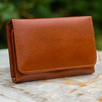 Leather trifold wallet, 'Infinite Brown' - Leather trifold wallet