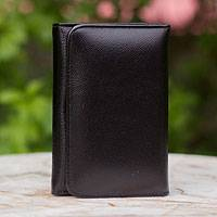Leather trifold wallet, 'Infinite Black' - Leather trifold wallet