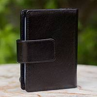 Leather wallet, 'Infinite Black' - Leather wallet