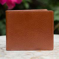 Men's leather wallet, 'Explorer in Brown' - Men's leather wallet