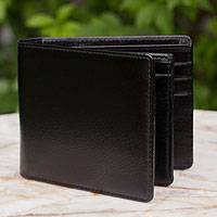 Men's leather wallet, 'Black Minimalist' - Men's Unique Leather Wallet