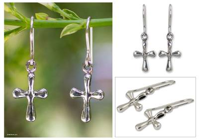 Sterling silver dangle earrings, 'Faithful Cross' - Sterling Silver Religious Dangle Earrings