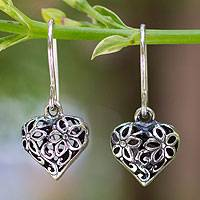 Sterling silver flower earrings, 'Blossoming Heart'