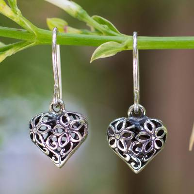 Sterling silver flower earrings, 'Blossoming Heart' - Sterling silver flower earrings