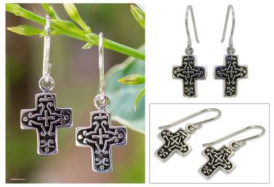 Sterling silver dangle earrings, 'Eternal Cross' - Sterling Silver Dangle Earrings