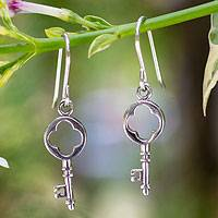 Sterling silver dangle earrings, 'Key to My Heart'