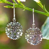 Sterling silver flower earrings, 'Hydrangea'