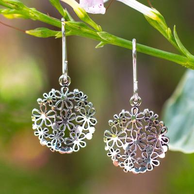 Sterling silver flower earrings, 'Hydrangea' - Unique Floral Sterling Silver Dangle Earrings