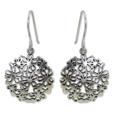 Sterling silver flower earrings, 'Hydrangea' - Unique Floral Sterling Silver Dangle Earrings