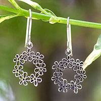 Sterling silver flower earrings, 'Floral Tiara'
