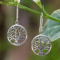 Sterling silver dangle earrings, 'Living Forest' - Sterling Silver Round Tree Cut-Out Earrings from Thailand