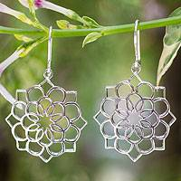 Sterling silver flower earrings, 'Carnation Petals' - Sterling silver flower earrings