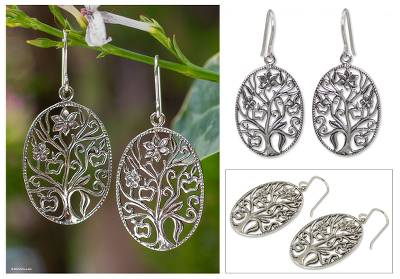 Sterling silver dangle earrings, 'Flowering Tree' - Sterling silver dangle earrings