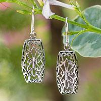 Sterling silver dangle earrings, 'Nature's Symmetry'