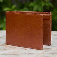 Men's leather wallet, 'Credit to Brown' - Men's leather wallet