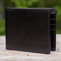 Men's leather wallet, 'Credit to Black' - Men's leather wallet