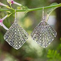 Sterling silver dangle earrings, 'Fern Whisper' - Unique Modern Sterling Silver Dangle Earrings