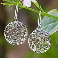Sterling silver dangle earrings, 'Dense Forest' - Sterling silver dangle earrings