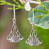 Sterling silver dangle earrings, 'Sunrise in Thailand' - Handcrafted Sterling Silver Sun Dangle Earrings