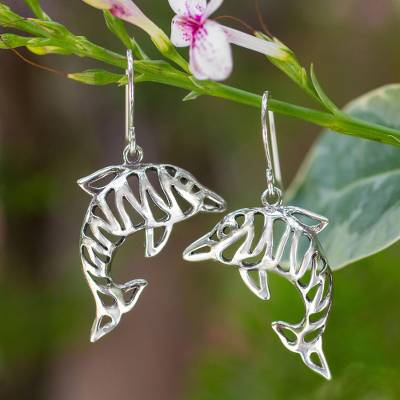 Sterling silver dangle earrings, 'Tiger Dolphin' - Sterling silver dangle earrings