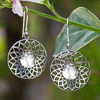Sterling silver dangle earrings, 'Lotus Blossom' - Hand Made Floral Sterling Silver Dangle Earrings
